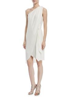 Halston Heritage One-Shoulder Tie-Waist Cocktail Dress