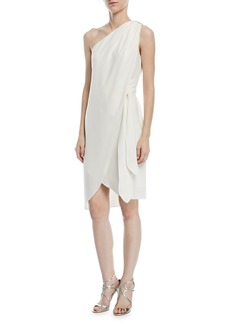 Halston Heritage One-Shoulder Tie-Waist Cocktail Dress
