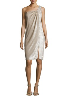 Halston Heritage One-Shoulder Twist Drape Dress