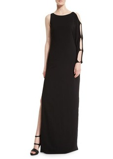 Halston Heritage One-Sleeve Column Gown