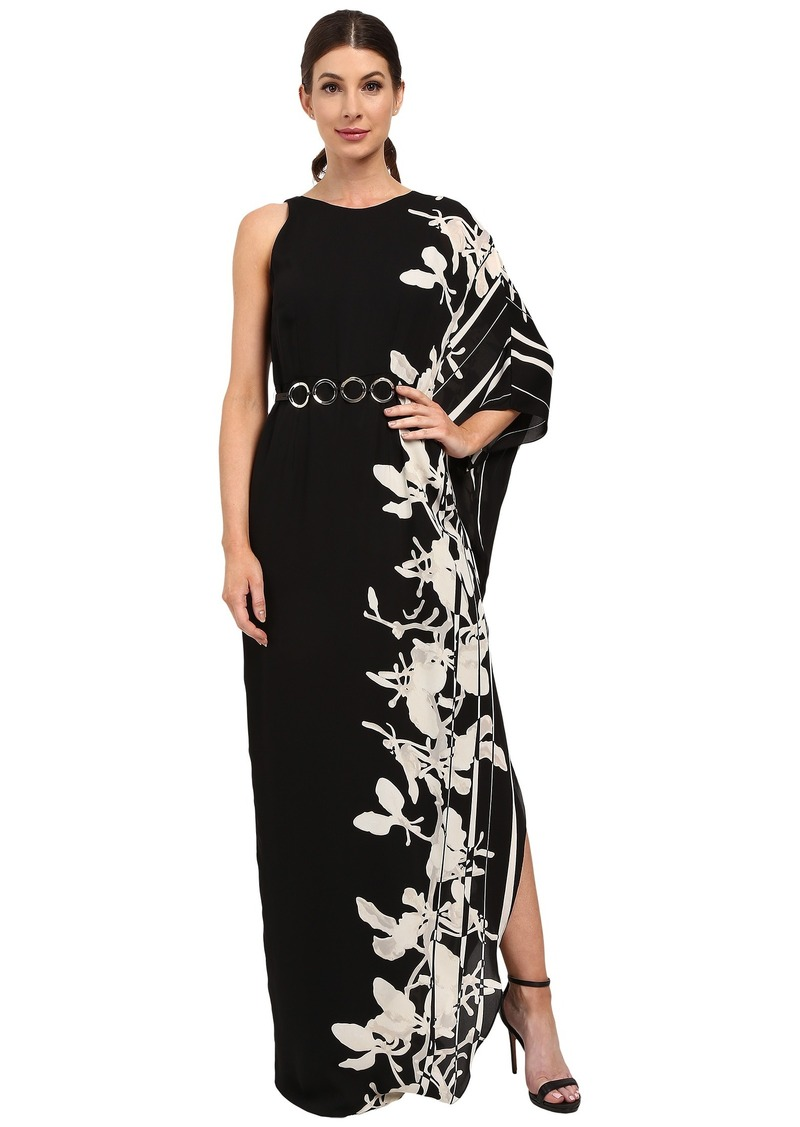 Halston Heritage One Sleeve Printed Gown with Curved Circle Belt