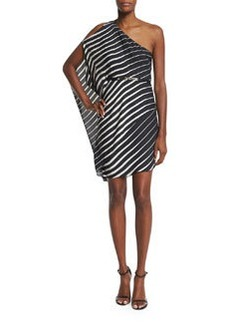 Halston Heritage One-Sleeve Striped Caftan Dress