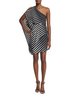 Halston Heritage One-Sleeve Striped Caftan Dress