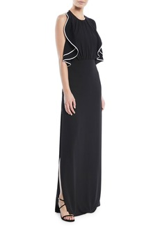 Halston Heritage Open-Back Gown w/ Ruffle Detail