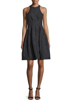Halston Heritage Paneled Jacquard Fit-and-Flare Cocktail Dress