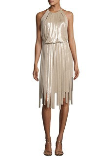 Halston Heritage Pieced Metallic Halter Dress