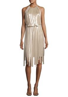 Halston Heritage Pieced Metallic Halter Dress