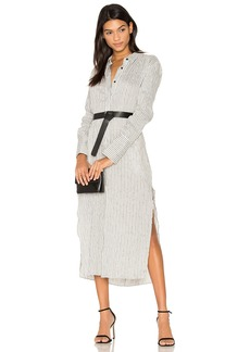 Halston Heritage Pinstripe Maxi Shirt Dress