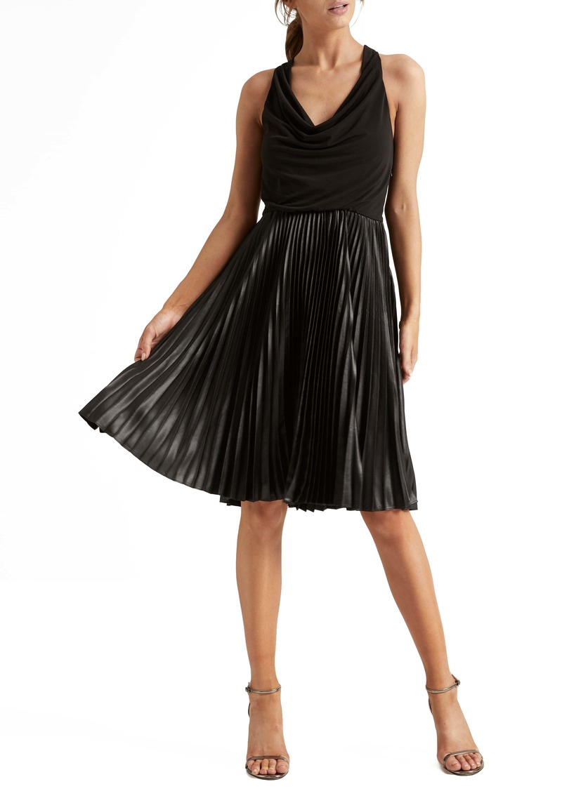 Halston Heritage Pleat Fit & Flare Cocktail Dress
