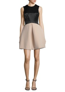 Halston Heritage Pleated Fit & Flare Dress