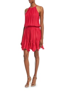 Halston Heritage Pleated Flounce Blouson Mini Cocktail Dress