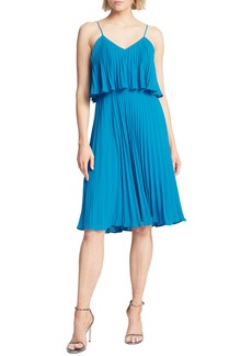 Halston Heritage Pleated Flounce Popover Dress