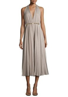 Halston Heritage Pleated Halter Jumpsuit with Golden Belt