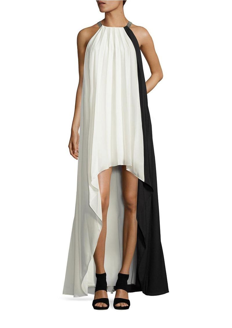 HALSTON HERITAGE Pleated Hi-Lo Dress