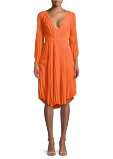 Halston Heritage Pleated Knee-Length Dress