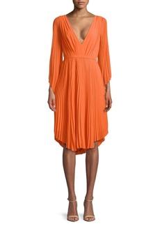 Halston Heritage Pleated Knee-Length Dress