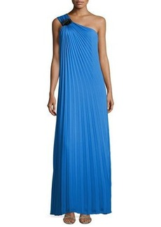 Halston Heritage Pleated One-Shoulder Gown with Flower Detail