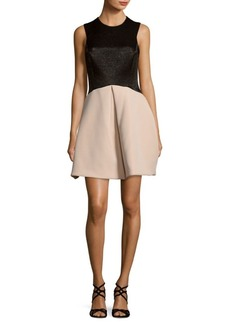 Halston Heritage Pleated Roundneck Dress