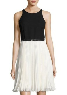 Halston Heritage Pleated-Skirt Sleeveless Dress