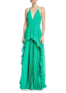 Halston Heritage Pleated Sleeveless Halter Gown