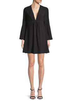 Halston Heritage Pleated V-Neck Bell-Sleeve Dress