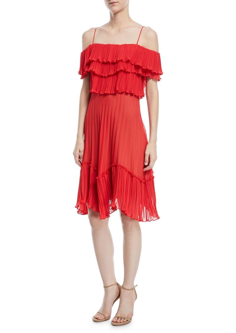 Halston Heritage Plisse Georgette Popover Ruffle Dress