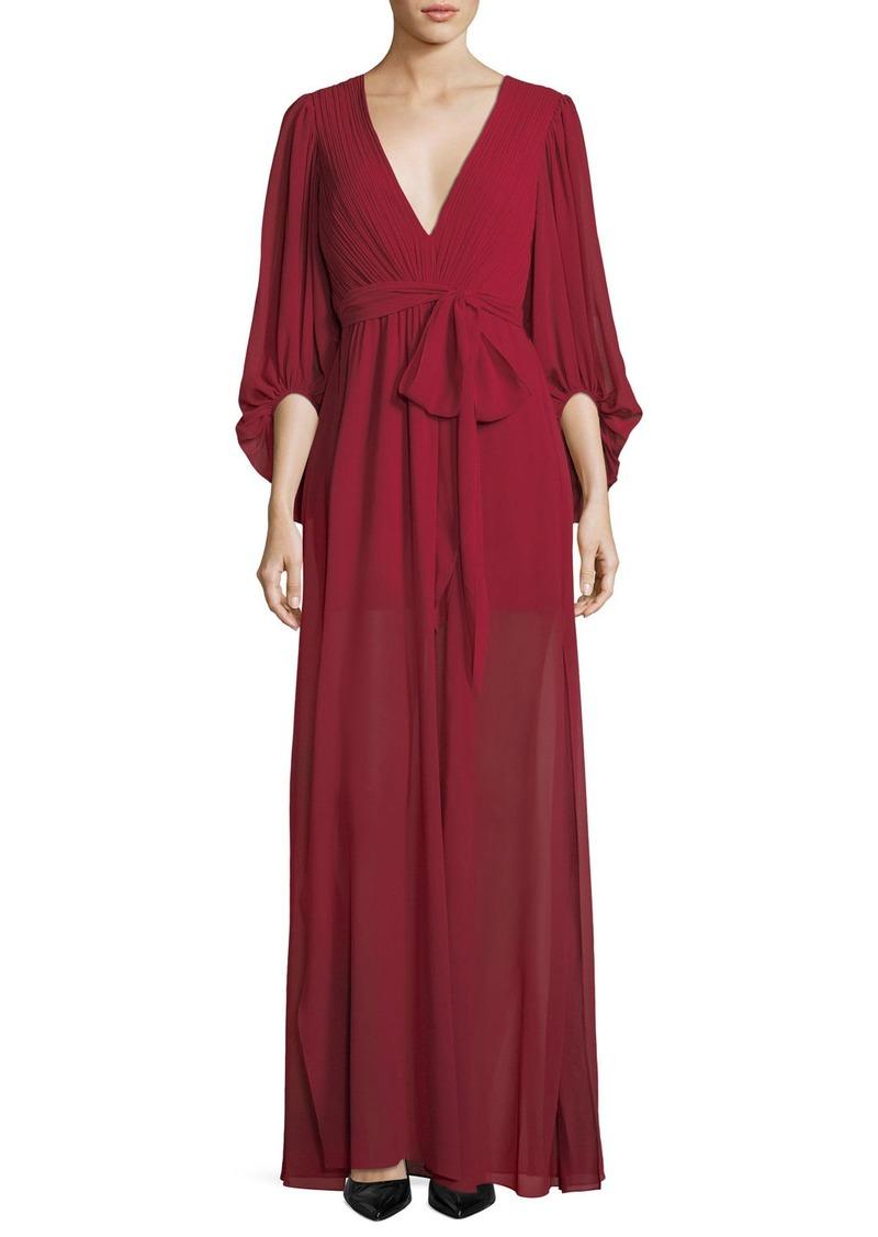 Halston Heritage Plisse Full-Sleeve Evening Gown