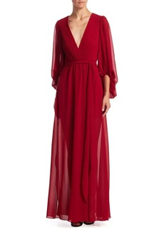 Halston Heritage Plissed Ruffle Gown