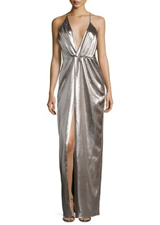 Halston Heritage Plunging Halter-Neck Asymmetric Metallic Evening Gown