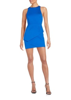 Halston Heritage Ponte Asymmetrical Peplum Dress