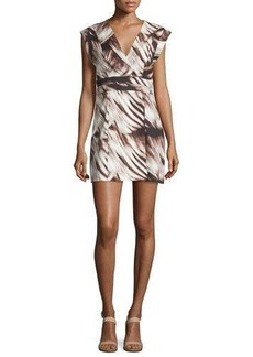 Halston Heritage Printed Cap-Sleeve Faux-Wrap Dress