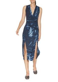 HALSTON HERITAGE Printed Double-Slit Dress