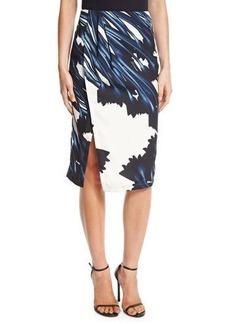 Halston Heritage Printed Draped Faux-Wrap Pencil Skirt