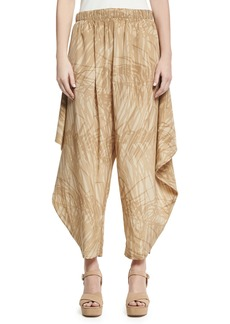 Halston Heritage Botanical-Print Flowy Ruched Pants