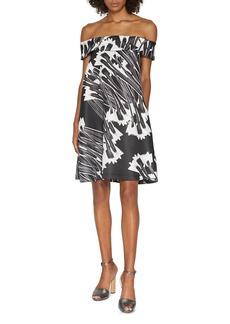 HALSTON HERITAGE Printed Off-Shoulder Dress