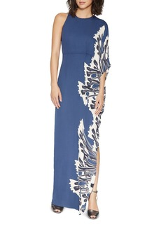 HALSTON HERITAGE Printed One-Sleeve Maxi Dress