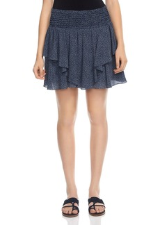 HALSTON HERITAGE Printed Silk Mini Skirt