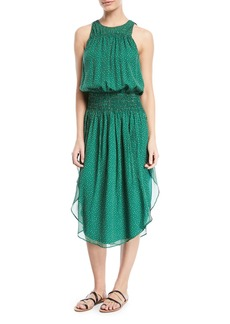 Halston Heritage Printed Silk Ruched Sleeveless Dress