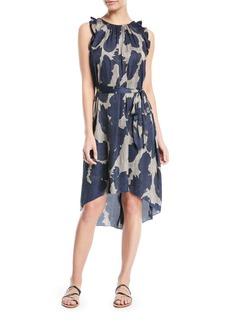 Halston Heritage Printed Sleeveless Self-Tie High-Low Dress