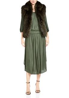 HALSTON HERITAGE Rabbit & Fox Fur Vest