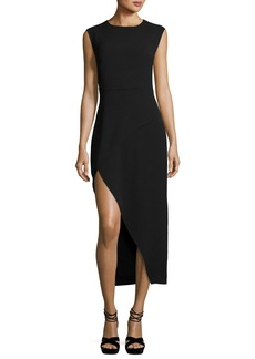 Halston Heritage Round-Neck Asymmetric High-Low Crepe Cocktail Dress
