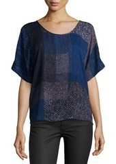 Halston Heritage Round-Neck Elbow-Sleeve Top