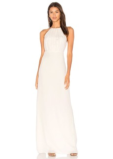 Halston Heritage Round Neck Gown With Flounce Back in White. - size 4 (also in 0,2)