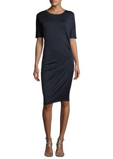 Halston Heritage Round-Neck Short-Sleeve Boiled Wool Dress