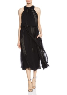 HALSTON HERITAGE Ruched Arrow-Print Silk Dress