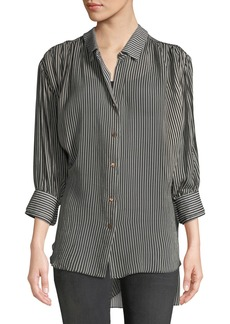 Halston Heritage Ruched Button-Up Long-Sleeve Top