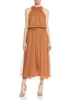 HALSTON HERITAGE Ruched Chiffon Dress