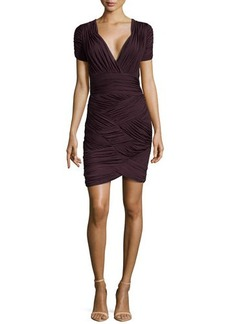 Halston Heritage Ruched Faille V-Neck Dress