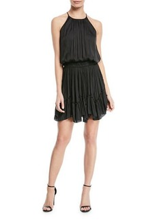 Halston Heritage Ruched Halter Mini Dress w/ Flounce Hem