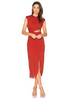 Halston Heritage Ruched Hi Low Dress in Red. - size 0 (also in 2,6)